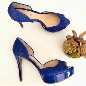 Gianni Bini blue patent leather stiletto platform